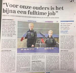 TTC Oostduinkerke Krantenartikel Fabian Joran januari 2017