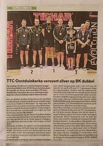 TTC Oostduinkerke Krantenartikel BK dubbel Bert Robbe Zilver 20192020