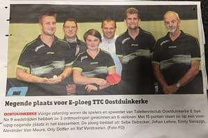 TTC Oostduinkerke Krantenartikel E ploeg december 20182019
