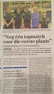 TTC Oostduinkerke Krantenartikel Fabian december 2016