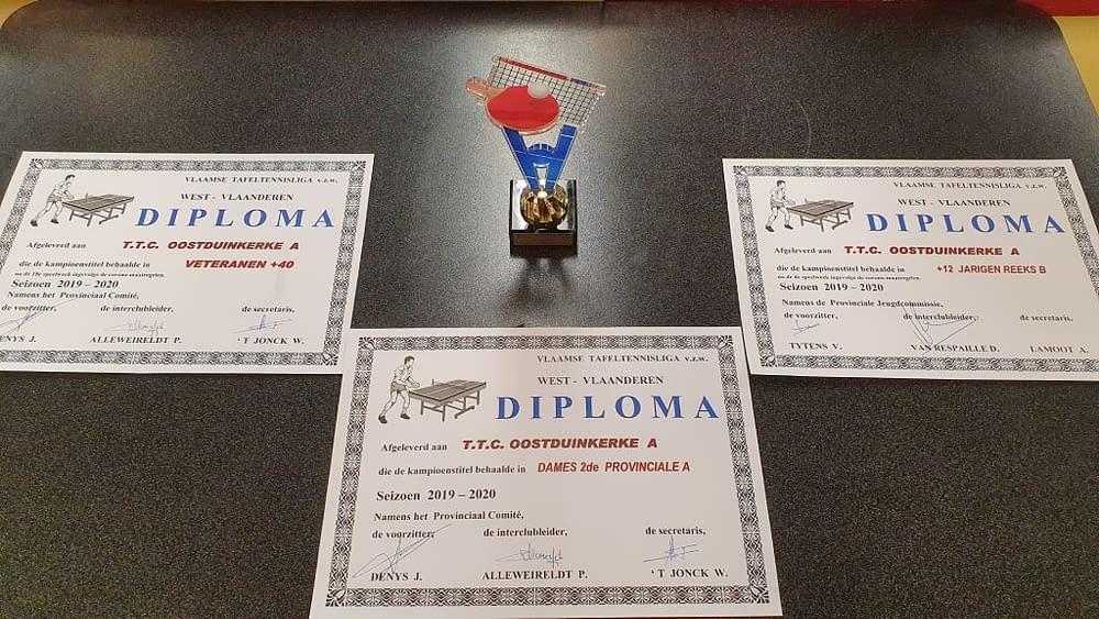 TTC Oostduinkerke Diploma's 20192020