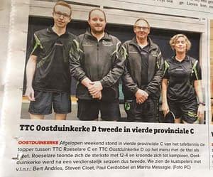 TTC Oostduinkerke Krantenartikel D ploeg april 2017